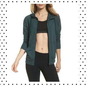 zella teal full zip up sweatshirt top NWT large